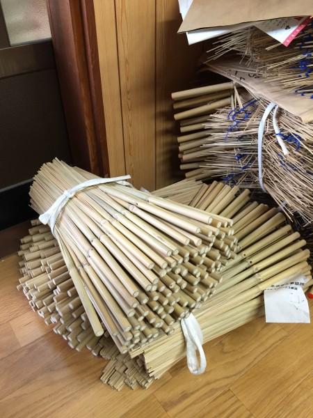 骨を広げる前の状態の竹材
